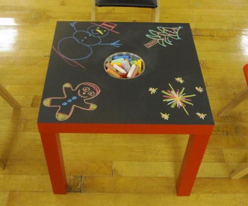 15 cool diy kids tables from ikea kidsomaniadiy ikea chalkboard table (via shelterness)