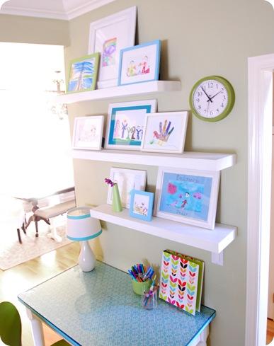 New DIY Kids Art Gallery Wall On Shelves via centsationalgirl