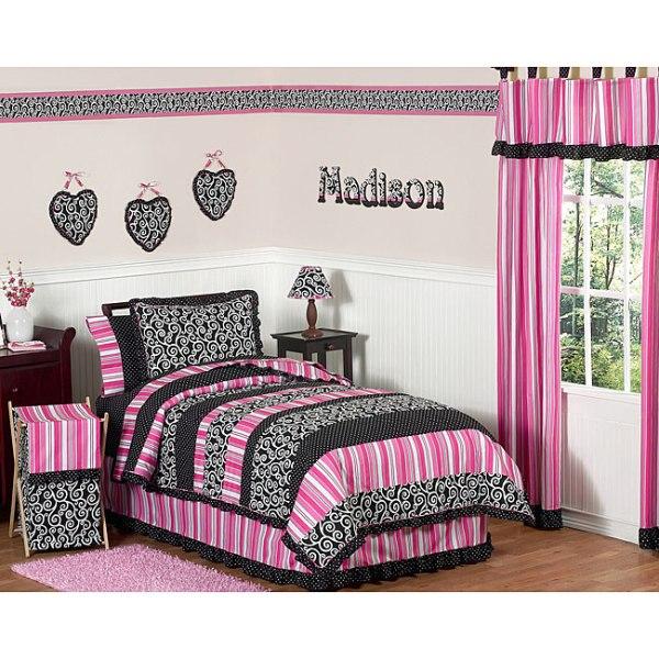 Black And Pink Girls Bedding