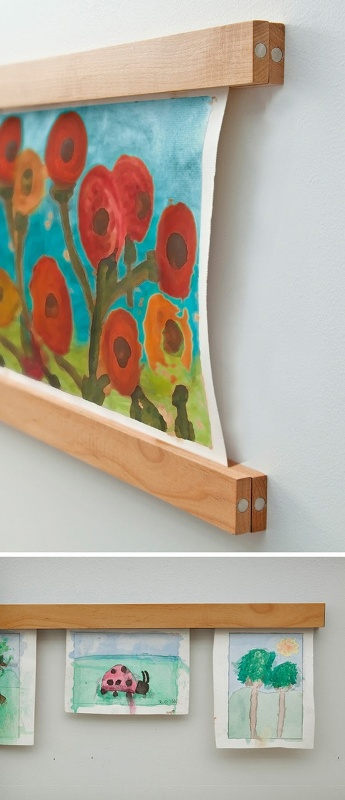 20 interesting ideas to display kids artwork kidsomania - Simple ways of keeping your home organized using magnetic picture frames ...