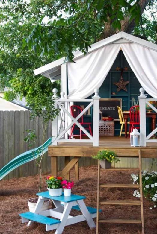 Cool DIY Backyard Children Bungalow | Kidsomania on Bungalow Backyard Ideas id=77148