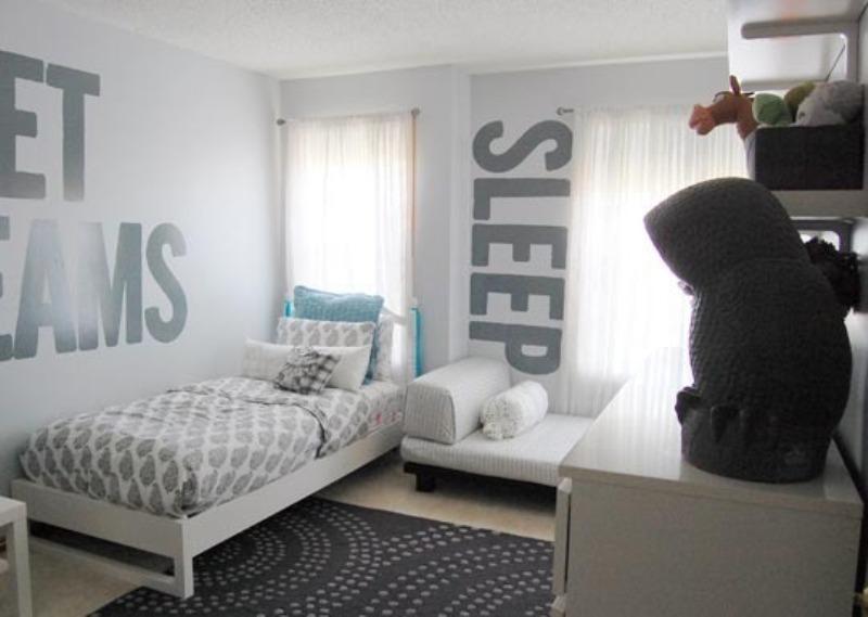 A Monochromatic Gray Shared Kids Room Design | Kidsomania on Teenage Grey Small Bedroom Ideas  id=11450