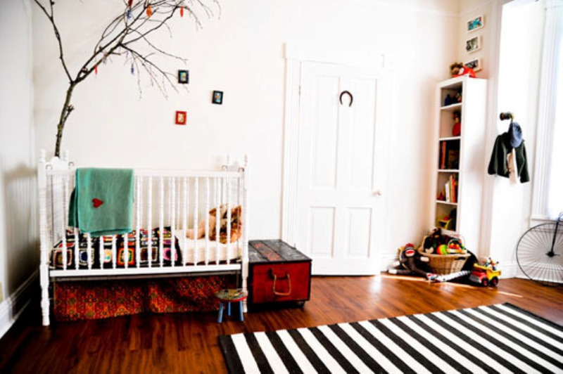 16 ideas to use black and white rugs in a kids room for Black and white kids room