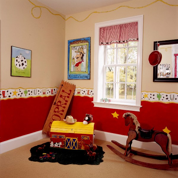Kids room design inspiration for a little cowboy kidsomania for Cowboy themed bedroom ideas