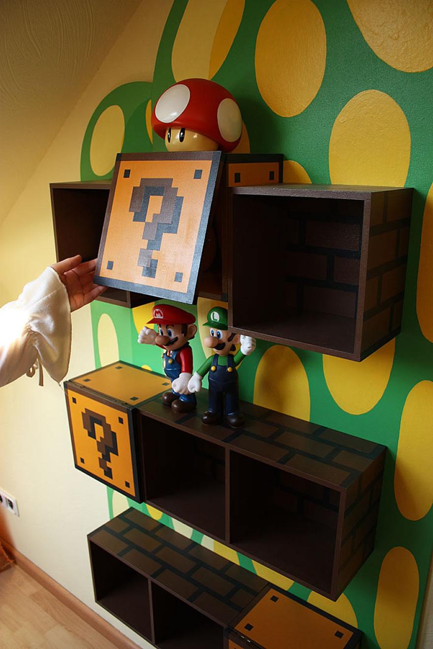 cool kids bookshelves for mario themed room kidsomania