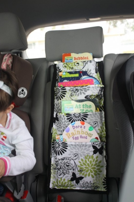 Diy car travel book storage for you and your kid kidsomania for Kids book storage diy