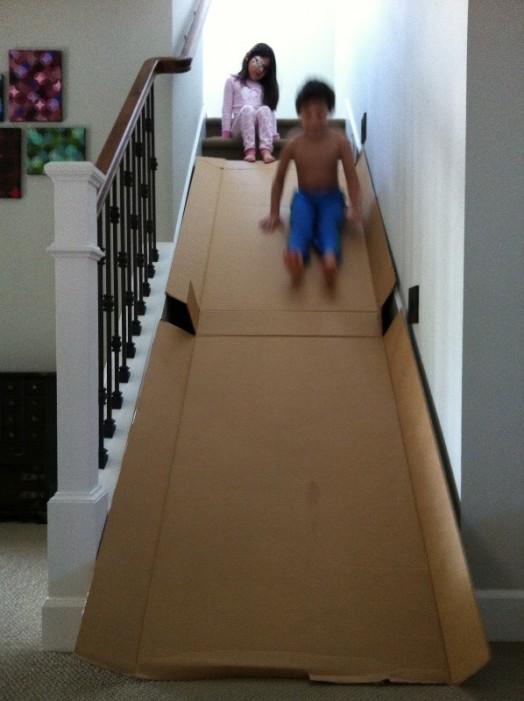 DIY Entertaining Kids Cardboard Slide At Home Kidsomania