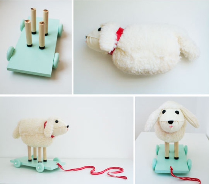 Easy diy lamb pull toy for small children kidsomania for Easy diy toys