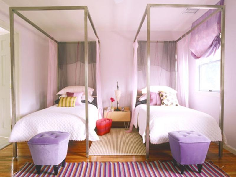 15 headboard design ideas for a shared kids bedroom for Bedroom ideas for girls sharing a small room
