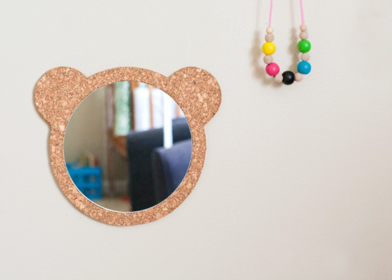Nice diy cork bear mirror for a kids room kidsomania for Mirrors for kids rooms