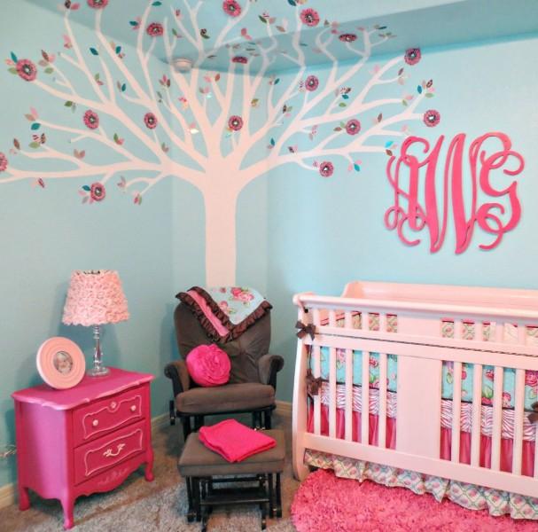 pink and aqua monogram nursery design