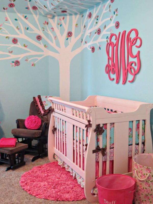 Pink And Aqua Monogram Nursery Design Kidsomania