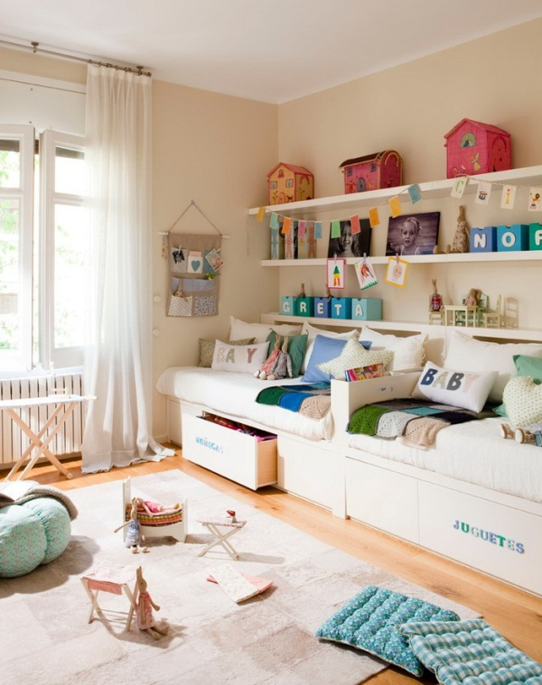 A cozy and perfectly organized room design for two kids for 2 kids bedroom ideas
