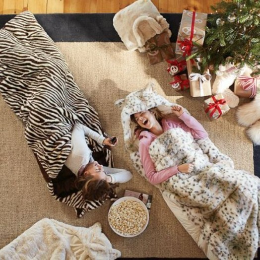 Adorable Fur Sleeping Bag For Kids Sleepover Parties