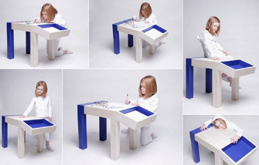 Girls Kids Childrens Wooden Nursery Bedroom Furniture Toy: Funny Looking Children Table With Storage