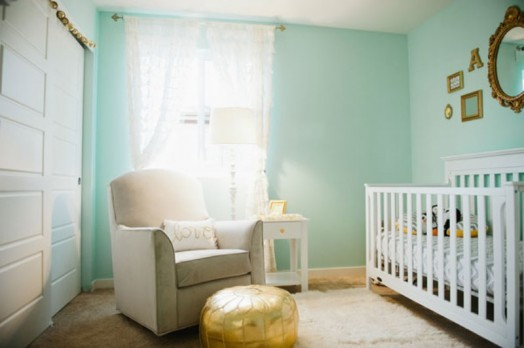 Cute Aqua And Gold Baby Girl S Nursery Inspiration
