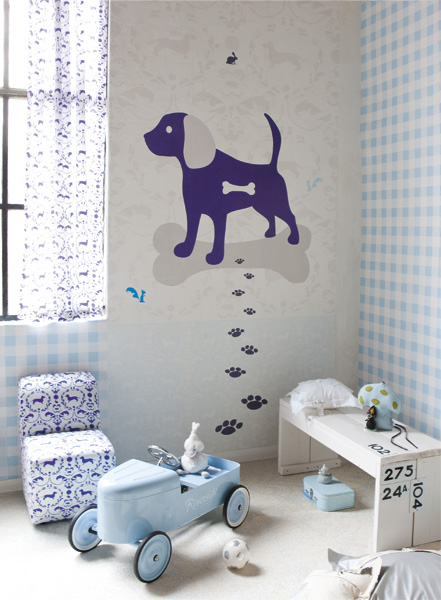 Children room wallpapers and matching fabrics by onszelf for Baby room decoration wallpaper