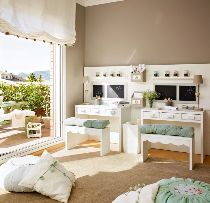 Neutral Colors For Shared Kids Room: Beige And Mint Green Kids' Bedroom For Two