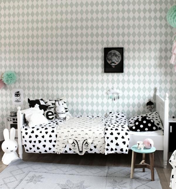 Black and white whimsy girl s bedroom design with pops of for Black and white girl bedroom ideas