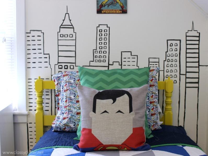 Bright and modern superhero themed room for three boys kidsomania - Comic themed bedroom ...