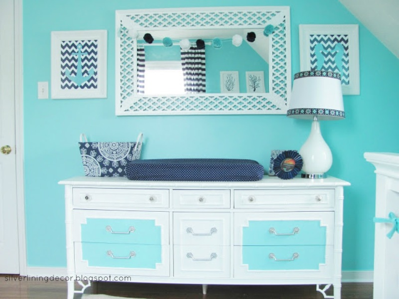 Bright Turquoise Nautical Nursery Design For A Boy