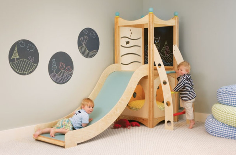 Cedarworks rhapsody indoor playsets and playhouses bring for Indoor play slide