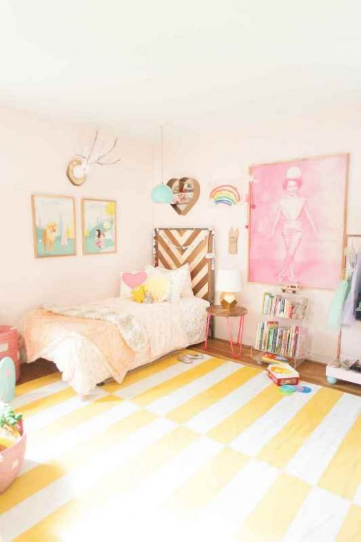 Cheerful and cute pink shared girls room design kidsomania for Cute pink bedroom ideas