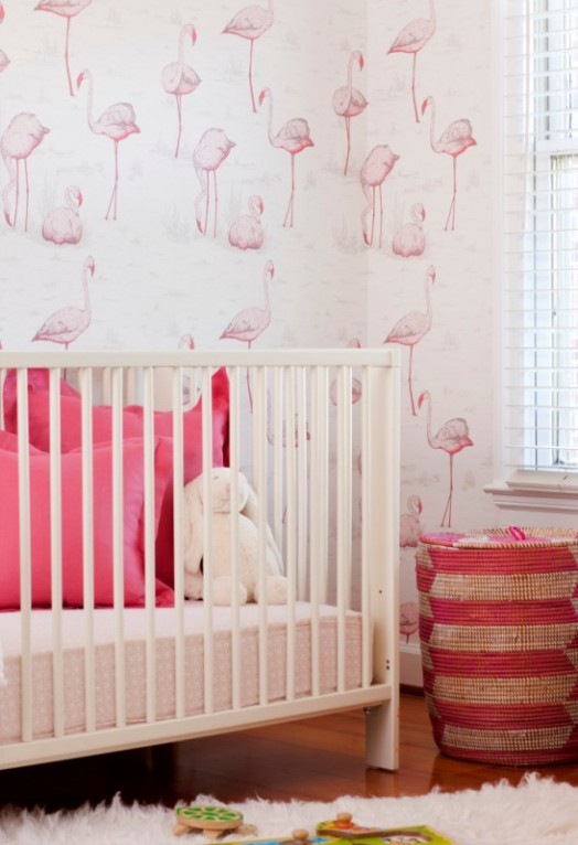 Cheerful and feminine pink and white baby girl nursery design kidsomania - Chic pink bedroom ideas for girls showing truly sweet and lovely look ...