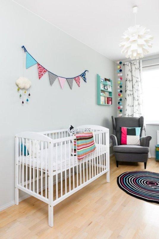 Cheerful And Modern Scandy Dutch Mashup Baby Girl Nursery: scandinavian baby nursery
