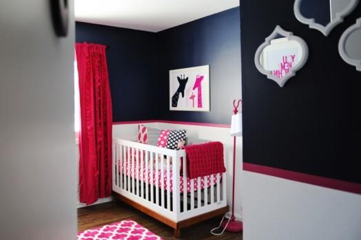 Chic Navy Pink And White Baby Girl Nursery Kidsomania