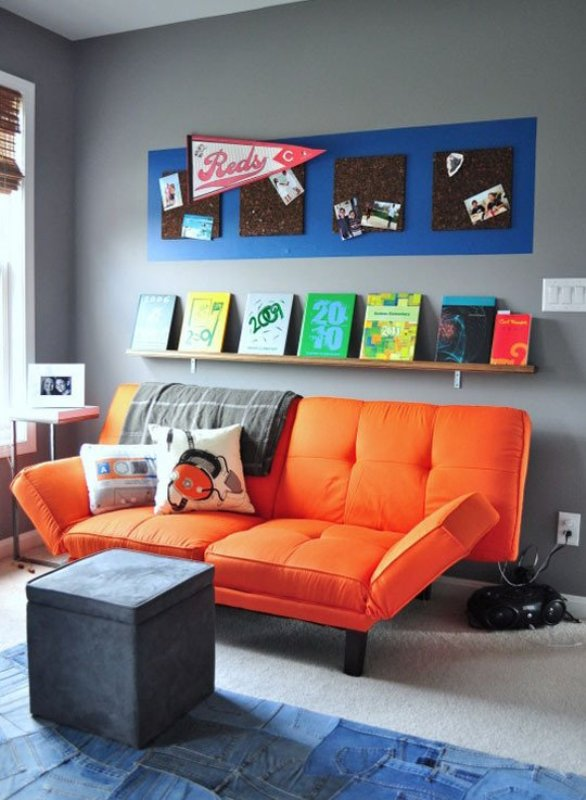 Chill Grey And Orange Room Design For A Pre Teen Boy