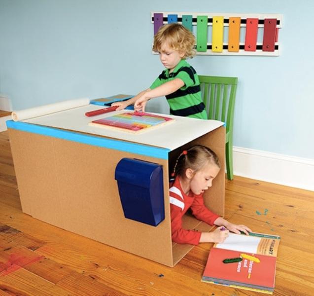 Cool diy cardboard kids workstation for craft and fun kidsomania