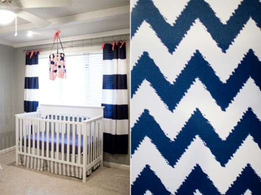 Creative Pink And Navy Baby's Nursery Design With