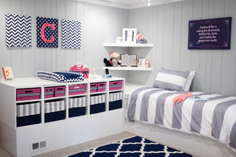 Creative Pink And Navy Baby S Nursery Design With Mismatched Prints Kidsomania