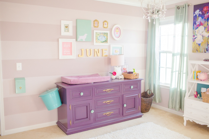 Eclectic And Cute Purple And Teal Baby Girl Nursery