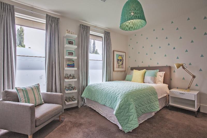 Fresh mint and grey modern big girl s bedroom kidsomania - Bedrooms for girls ...
