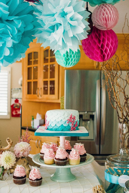 Fun And Bright Mermaid Themed Kid S Birthday Party