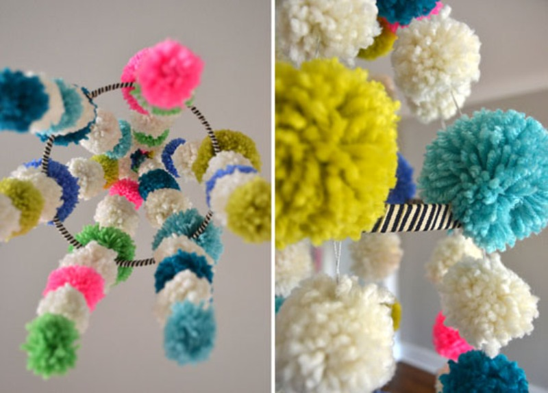 Awesome Fun And Colorful DIY Pom Pom Chandelier
