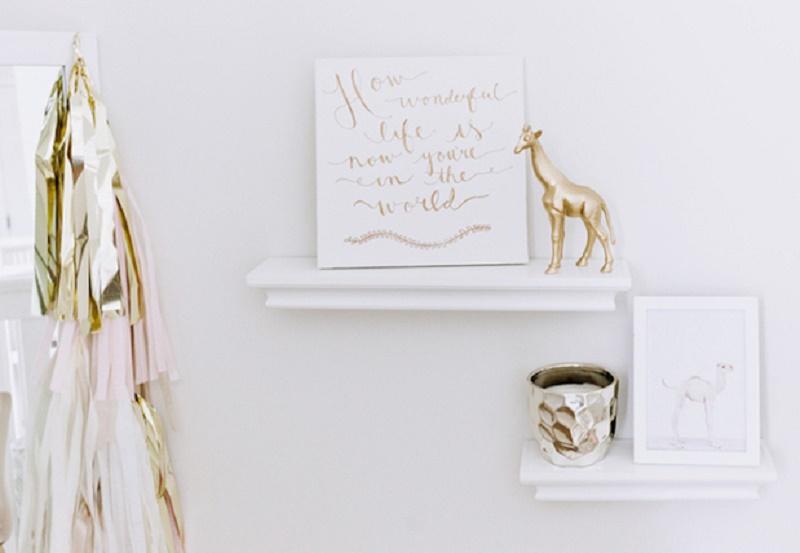 Glamorous Gold Blush And White Baby Girl Nursery Design