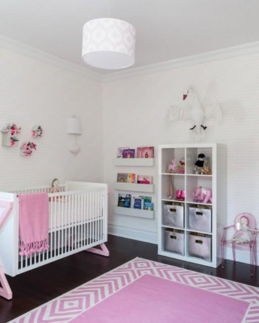Baby Nursery Design Ideas And Inspiration: Incredibly Modern Pink Baby Girl Nursery Design