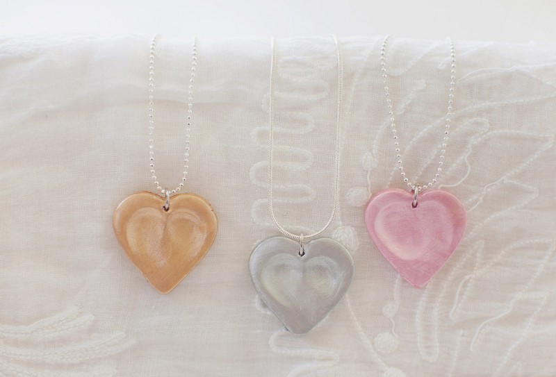 Lovely DIY Heart Thumbprint Necklace Gift Project For Grandma