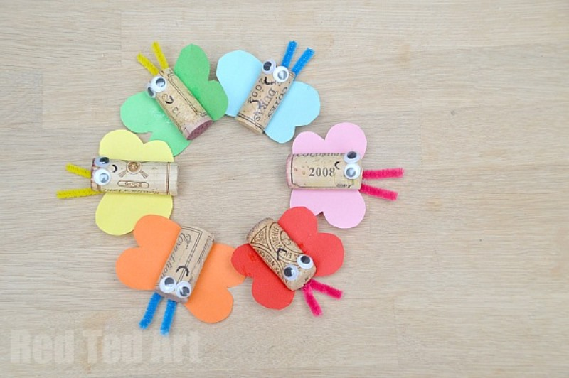 Lovely diy rainbow butterfly cork craft to try with kids for Craft projects with corks