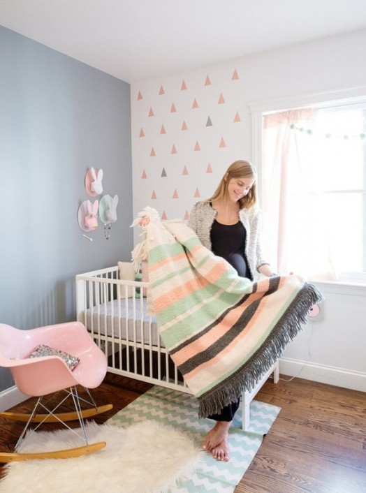 Modern And Cozy Baby Girl Nursery With Trendy Triangles