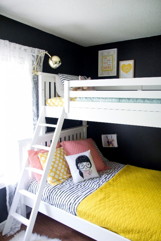 Neutral Shared Girls Bedroom Design With Bright Pops Of
