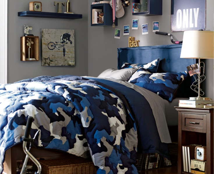 46 stylish ideas for boy s bedroom design kidsomania for Boys camouflage bedroom ideas