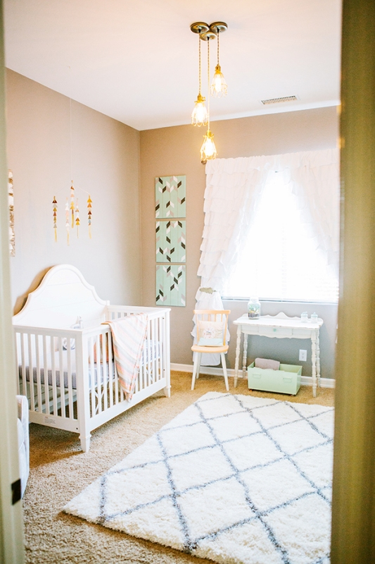 Sweet Grey Nursery Design With Splashes Of Peach And Mint Colors Kidsomania