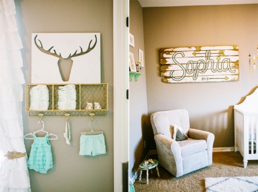 Sweet Grey Nursery Design With Splashes Of Peach And Mint